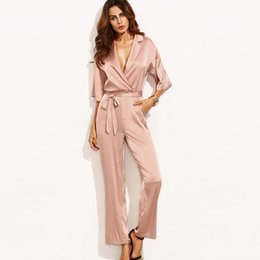 0c9e1e59af Sexy Deep v Neck Jumpsuit Women Slik Pink Bandage Ladies Bodysuits Sheer  Combinaison Femme Jumpsuits Womens Clothing 50L023