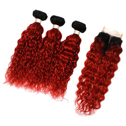 Wholesale Hair Dyes Australia - Peruvian Virgin Hair water Can Be Dyed Natural Color 1b red Bundles with Lace Closure Free Middle Three Part Closure