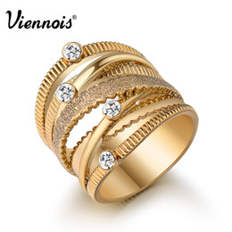 Hollow Fingers Australia - whole saleViennois Brand New Wide Gold Color Multilayer Hollow Rings for Women Trendy Stack Ring Jewelry Female Finger Ring