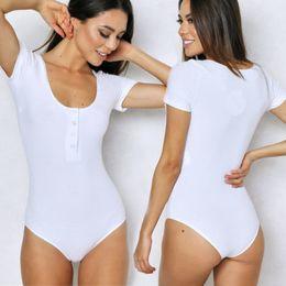Women Jumper Shorts NZ - Sexy Women Short Sleeve Bodysuit Summer Solid White Jumper Bodycon Playsuit Jumpsuit Shirt Tops