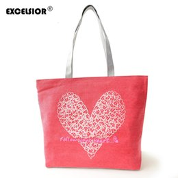$enCountryForm.capitalKeyWord NZ - EXCELSIOR Floral Hearts Printed Canvas Tote Female Casual Beach Bags Large Women Single Shoulder Shopping Bag Canvas Handbags