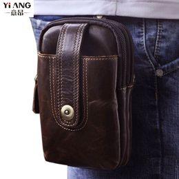 Vintage camera belt online shopping - Men Cell Mobile Phone Case Hip Belt Bag Camera Bags Travel Genuine Leather Hook Fanny Waist Pack