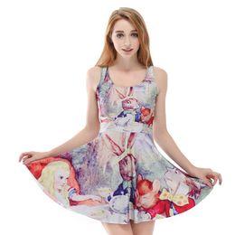 bf708fa35741 Reversible Skater Dresses Canada - NEW 1186 Plus size Summer Women Dress  Alice in Wonderland Rabbit