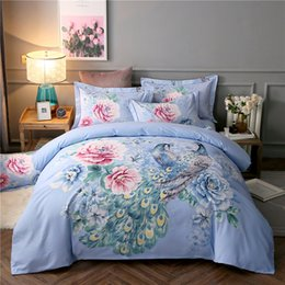 duvet sets peacock NZ - 2018 Flowers Blue Peacock Bedding Sets Sanding Cotton Bedlinens Queen King Size Duvet Cover Set Bedsheet Pillowcases