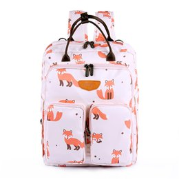 Wholesale Animal Printed Cartoon Mom Dad Travel Backpack Newborn Baby Cloth Milk Bole Diaper Changing Bags With Gift Diaper Chang Pad