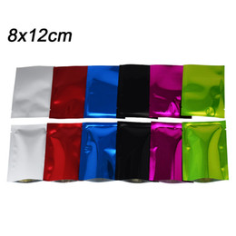 China Wholesale 8*12cm Various Color Mylar Open Top Package Bags Heat Sealing Aluminum Foil Vacuum Pouch Coffee Tea Packing Bag 200Pcs Lot suppliers