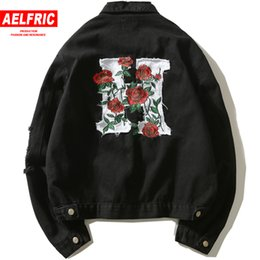 justin bieber jackets NZ - Fashion Men Denim Jacket Letter Flower Embroidery Hip Hop Jean Black Jackets Hip Hop Justin Bieber Jeans Man Streetwear OF075