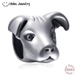 $enCountryForm.capitalKeyWord NZ - Haha Jewelry Animal Series Dog Head Charm Authentic Antique 925 Sterling Silver Bead for Pandora Charms Bracelet Making