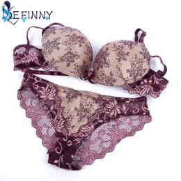 b50d7b16a1 2018 Hot Sale Women Sexy Embroidery Lace Briefs Push Up Bra Set Elegant  Purple Underwire B C Cup Lingerie Girl Bandage Underwear
