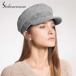 cdf921df Sedancasesa Women's Newsboy Caps Autumn Fashion British Style Flat Wool Felt  Hats for Girls Classic Berets Cap Female Boina