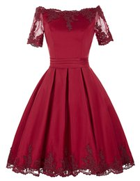 Short Red Lace Prom Vintage Dress UK - Red Lace Formal Evening Dresses Women's Ball Gown Short Sleeve Bridal Gown Special Occasion Prom Bridesmaid Party Dress
