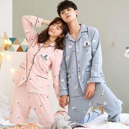 5c340cad88 Couples 100% Cotton Pajama Sets for Women 2018 Autumn Winter Long Sleeve  Print Pyjama Men Lounge Homewear Casual Indoor Clothing