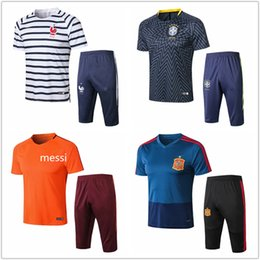 Brown tracksuits online shopping - 2018 France Spain Summer soccer Tracksuit Brasil Short sleeve pants MESSI Portugal Argentina Real Madrid football Training suit