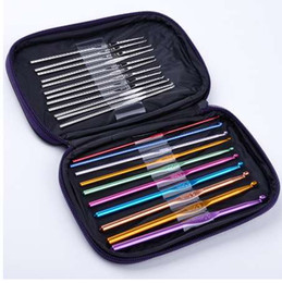 tools crocheted NZ - 22 Pcs Set Stainless Steel Needles Crochet Hooks Multi Color Knitting Needles Tools with Case for Handle Weave Craft Tool TW002