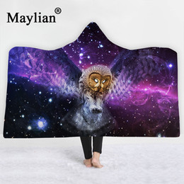 adult owl bedding 2019 - Owl animal Hooded Blanket Sherpa Fleece Wearable plush Throw Blanket on Bed Sofa Thick warm B78 discount adult owl beddi