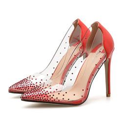 $enCountryForm.capitalKeyWord NZ - Hot Selling dress shoes for women PVC clear sexy high heel pumps fashion Rhinestone lady wedding shoes