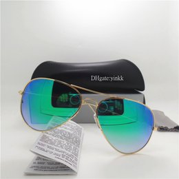 ef55875191c Fashion Progressive Glass Lens Sunglasses Men Women Sun Glasses Brand UV400  Metal 62MM Pilot TOP Quality Eyewear Gradient Mirror With Case