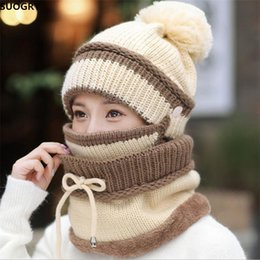 Beanies For Winter Australia - SUOGRY Winter Beanie Hat Scarf and Mask Set 3 Pieces Thick Warm Knit Cap For Women S18101708
