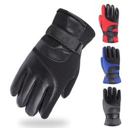 Genuine Leather Gloves Wholesale Australia - LASPERAL Hot Sale Men Sheepskin Gloves Genuine Leather Glove for Men Winter Outdoor Warm Fur Thickening Thermal Patchwork Gloves