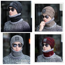 81d7306550a Winter Warm Knitted Hat 6 Colors Beanie Hats Scarf Sets For Student  Teenagers Men Knitted Hat Cap MMA995