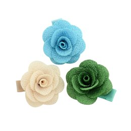 Chinese  14pcs Artificial Flower Ribbon Wrapped Hairclips Women Hairpins Small Handmade Camellia Rose Hair Clip Girls Hair Accessories manufacturers