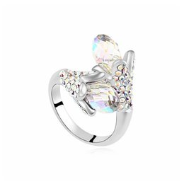 Genuine Swarovski Jewelry UK - Romantic Wedding Party Rings 100% Genuine Crystals from Swarovski Water drop Elements Ring for Women Upscale Jewelry Accessories