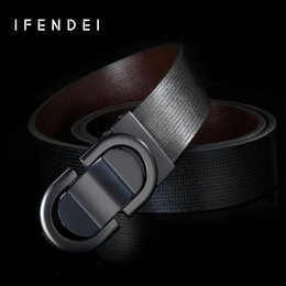 belts men gold NZ - IFENDEI Genuine Leather Belt For Men Casual Smooth Buckle Belts Male Cow Skin Waist Gold Silver Plate Buckle Belt Black Strap