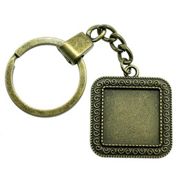 Women s keychains online shopping - 6 Pieces Key Chain Women Key Rings For Car Keychains With Charms S Sign Inner Size mm Square Cabochon Cameo Base Tray Bezel Blank YSK F119