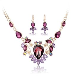 Swarovski Gold 18k Australia - Vintage Swarovski Elements 18K Gold Platinum Plated Floral Necklace Earring 2 in 1 Jewelry Sets Wedding Jewelry Best Gift