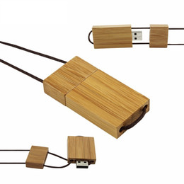 Wooden Usb Flash Memory NZ - Original Wooden USB Flash Drive Pen Drive Necklace Memory Stick Pendant 4GB 8GB 16GB 32GB 64GB Pendrive U Disk New Arrival For office Home