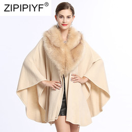 Discount belted cape coat - Fashion EuropeStyle Belt Raccoon Fur Coat Cloak Shawl Graceful Women Woolen Cape Wraps Cardigan Pashmina Autumn Winter N