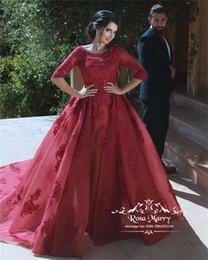 $enCountryForm.capitalKeyWord Australia - Burgundy 1 2 Long Sleeves Evening Dresses 2020 Plus Size Vintage Lace Kaftan Abayas Muslim Formal Dresses Evening Wear Prom Party Gowns
