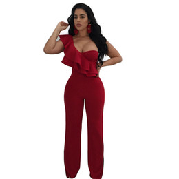 Aikoar Women Summer One Shoulder Low Cut Ruffles Solid Color Sexy Skinny  Party Nightclub Jumpsuits Femme 95ee55cc0