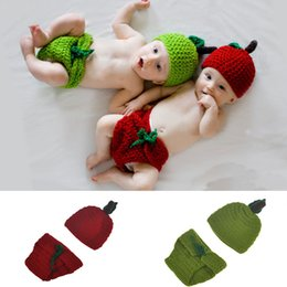 Crochet Baby Photo Outfits Australia - Newborn Baby Girl Boy Crochet Knit Costume Photo Photography Prop Outfits Apple Design Hat Pants