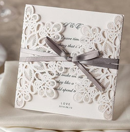 2015 New Wedding Invitations Laser Cut Customizable Hollow Crystal Lace Bow  Ribbon Wedding Invitation Cards Supplies Printable Cards WM207 Crystal  Wedding ...