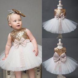 $enCountryForm.capitalKeyWord NZ - 2017 Girls Dress Princess Summer Baby Girls Sequins Bowknot Party Wedding Gown Formal Dress