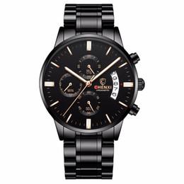$enCountryForm.capitalKeyWord UK - CHENXI relojes hombre all black steel strip men's watches male quartz multifunction chronograph men fashion wrist watch
