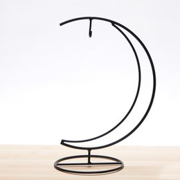 Wholesale Moon Type Display Rack Wear Resistant Metal Iron Stand For Hanging Glass Globe Air Plant Terrarium Holder Black dd BB