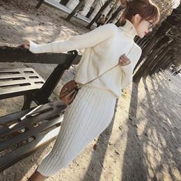 a11e39dd4 Twist Knitted 2 Piece Set Women Long Sleeve Turtleneck Pullover Sweater +  Split Pencil Skirt Set Lady Runway Knitting Skirt Suit
