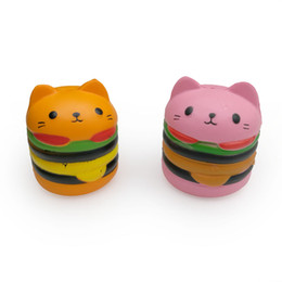 Chinese  Hamburger Cat Kawaii Squishy Toy Slow Rebound Squishies Mini Hamburgers Food Squeeze Cartoon Toys Gifts Free Shipping manufacturers