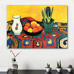 flower life Canada - Still Life Canvas Art Wall Pictures For Living Room August Macke Modern Hyacinths Carpet Painting Flowers Home Decor No Framed