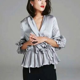 Women White shirt boW tie online shopping - Lady D Flowers Bow Satin Shirt Women Faux Silk Pleated ruffled Lace Blouse Sexy Deep V neck Ruffles Half Ribbon tie Sleeve Cross Tops