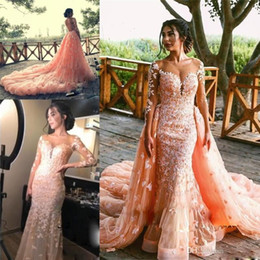 Discount long black illusion neckline dress - Elegant Overskirt Wedding Dresses Mermaid Sheer Neckline Illusion Long Sleeves Appliques Backless Bridal Dress With Deta