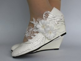 Wedding goWns shoes online shopping - Autumn and winter white lace diamond size wedding shoes bridal gown high heel handmade princess single shoe woman