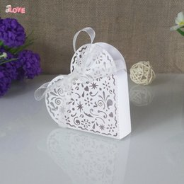 Wholesale Heart Candy Boxes Australia - 30pcs Heart Shaped Laser Cut Christmas Candy Box with Ribbon Baby Shower Wedding Event Party Supplies 5ZT54