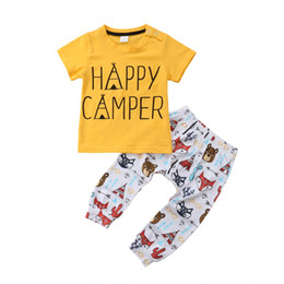 $enCountryForm.capitalKeyWord NZ - Cute Baby Boys Animals Toddler Yellow T-shirt+Pants 2PCS set Outfits Letter Print Casual Kids Clothes Costume Infant Baby Boutique 0-24M