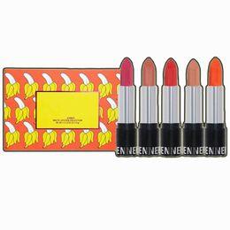 $enCountryForm.capitalKeyWord UK - 2018 Hot Brand makeup Matte Lipstick set 5colors Lipstick with Name 5pcs set The Summer Collection Lipset DHL shipping 100sets