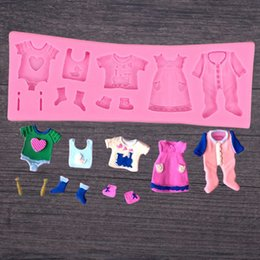 silicone suits NZ - Baby suit Sugar Cake Decoration silicone Mold DIY Chocolate Ultra-Light Clay Baking tool