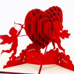 En gros-Mode 3D Pop Up Pliable Coupe Papier Cartes De Voeux Créatif Amour À La Main Cupidon Cartes Postales Valentines De Mariage Cadeau De Noël