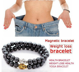 Venta al por mayor de Hematita magnética ronda Budda cabezas de piedra pulsera de perlas para hombres Mujeres Peso perder anti-fatiga salud atención de energía pulsera